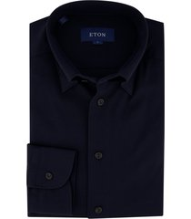 eton shirt slim fit stretch donkerblauw pique