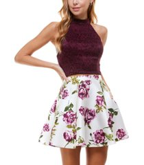 city studios juniors' two-piece halter dress