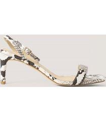 na-kd shoes snake basic block heel sandals - multicolor