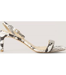 na-kd shoes snake basic block heel sandals - multicolor