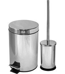 kit lixeira com pedal 3 litros e escova sanitária cromada