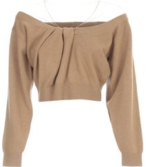 alexander wang cropped drape neck pullover w/illusion tulle