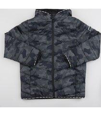 jaqueta bomber infantil estampada camuflada com zíper gola alta preta