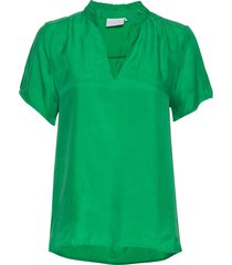 blouse w. frill detail at neck t-shirts & tops short-sleeved groen coster copenhagen