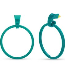 kensie women's polished open circle dangle post extra large earrings