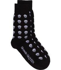 alexander mcqueen skull motif socks - black