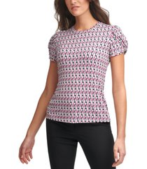 dkny printed puff-sleeve top