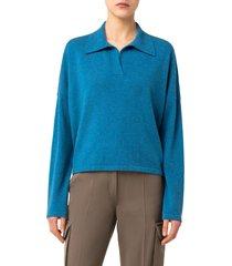 women's akris punto polo collar cashmere sweater, size 4 - blue