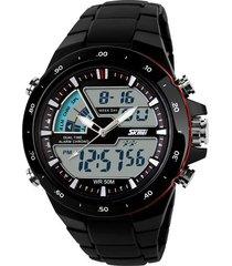 skmei 1016 reloj hombre analogo digital militar - negro rojo