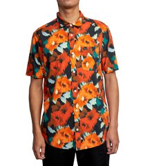 rvca wonder floral short sleeve button-up shirt, size x-large in black at nordstrom