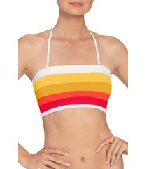 women's robin piccone casey colorblock bandeau bikini top, size large - orange