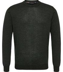 merino light - iq gebreide trui met ronde kraag groen sand