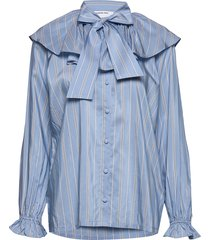 feature collar pussy-bow blouse blus långärmad blå designers, remix