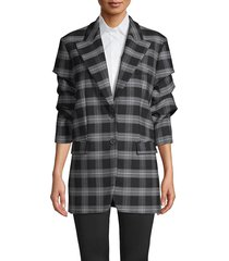 michael kors collection women's gathered-sleeve plaid jacket - slate - size 0