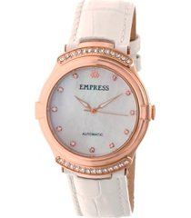 empress francesca automatic white leather watch 35mm