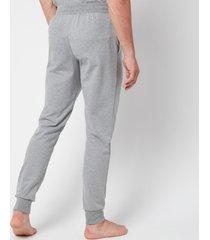 emporio armani men's all over logo terry trousers - grey melange - xl