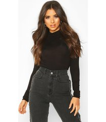 basic high neck long sleeve top, black