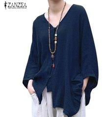 zanzea botones de manga murciélago para mujer cuello en v camisa informal tops cascada blusa étnica -azul marino