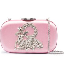 giambattista valli aries crystal and beaded embellished clutch - pink