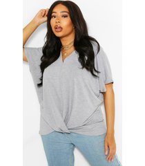plus oversized knot front jersey tee dress, grey marl