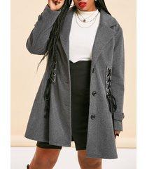 plus size lace-up single breasted tunic coat