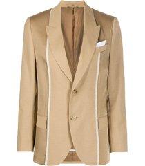 neil barrett blazer com abotoamento simples e acabamento contrastante - neutro