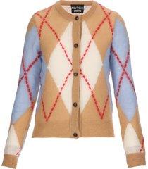 boutique moschino maxi argyle cardigan