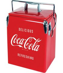 coca-cola retro ice chest cooler with bottle opener 13 l /14 quart vintage style ice bucket for camping, beach, picnic, rv, bbqs, tailgating, fishing
