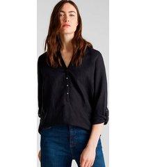 blusa escote henley negro esprit