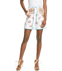 women's all things mochi embroidered belted shorts, size small - white