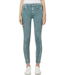 hudson women's nico mid-rise super skinny ankle jeans - teal miner - size 30 (8-10)