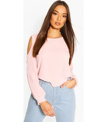 cold shoulder woven top, blush