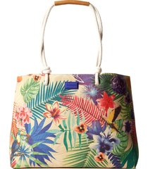 bolsa sacola desigual tropical bege