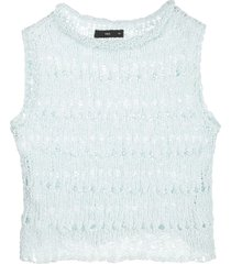 voz open knit crop top - blue
