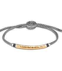 john hardy classic chain slider bracelet, size medium in gold/silver/black spinel at nordstrom