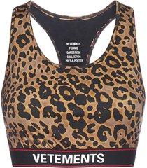 vetements logo leopard print bra top