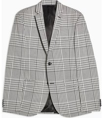 mens grey gray check super skinny single breasted suit blazer with notch lapels