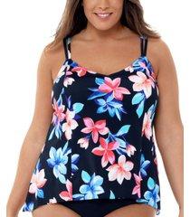 swim solutions plus size lanai printed princess-seam tankini top, created for macy's women's swimsuit