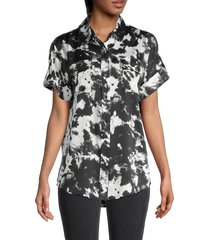 karl lagerfeld paris women's tie-dye shirt - black - size s