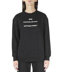 msgm black cotton sweatshirt with lettering print
