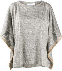 fabiana filippi frayed sides t-shirt - grey