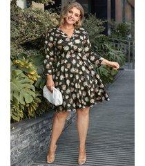 talla grande escote en v estampado floral 3/4 longitud mangas midi vestido