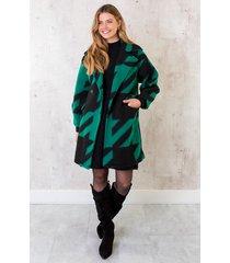 oversized woven coat smaragd