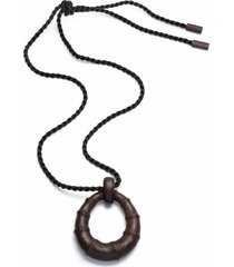 natori acacia wood bamboo necklace, women's
