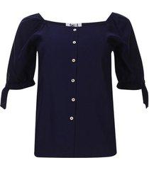 blusa con recogido unicolor color azul, talla 10