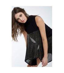 vestido crepe babado vidrilho preto - 42