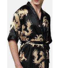 mens plus size retro luxury stain giapponese kimono drago cinese di seta del ghiaccio sexy abiti da notte