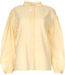 katoenen blouse met pofmouwen olga  beige