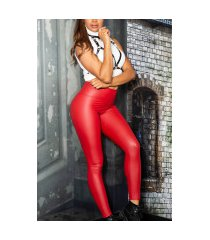 sexy wetlook thermo leggings rood