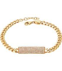 14k gold vermeil & cubic zirconia pavé id bracelet